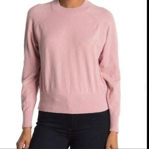 Madewell Mock Neck Raglan Sleeve Sweatshirt Pink